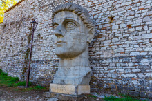 Head Of Constantine The Great At Berat Castle In Albania