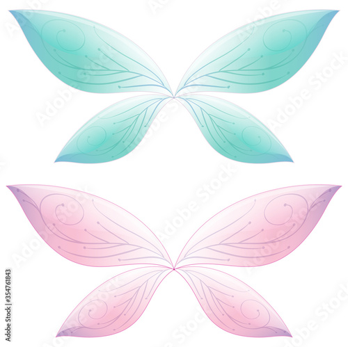 Fototapeta Butterfly in fairt tale pastel color on white background