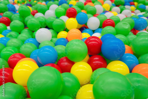 background beautiful with Colored plastic balls in pool of game room. Swimming pool for fun