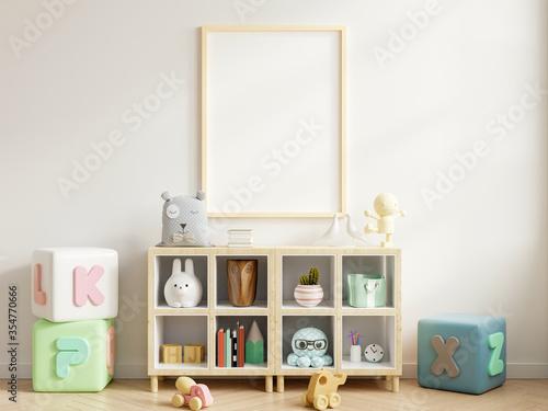 Fototapeta Mock up poster frame in children room,kids room,nursery mockup. obraz na płótnie