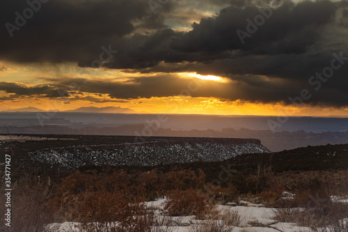 sunset in the mountains near Moab Utah