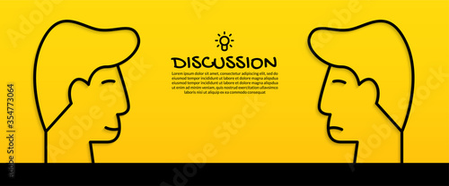 Obraz Discussing idea concept with two human heads on yellow background - fototapety do salonu