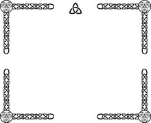Rectangular Vector Irish Celtic Frame With A Knot Pattern, A Celt Symbol In The Middle And Swirls In The Corners.