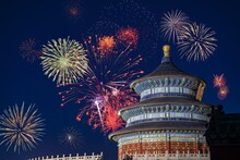 Beautiful Shot Of The Temple Of Heaven In Beijing, China With Colorful Fireworks In The Background