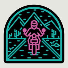 Biker Motorcycle Nature Wild Line Badge Patch Pin Graphic Illustration Vector Art T-shirt Design