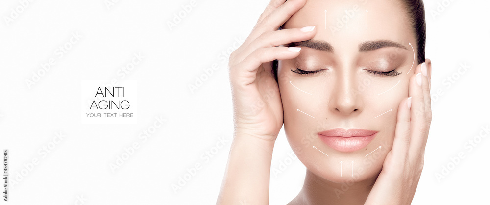 Fototapeta Beauty face spa woman. Surgery and Anti Aging Concept