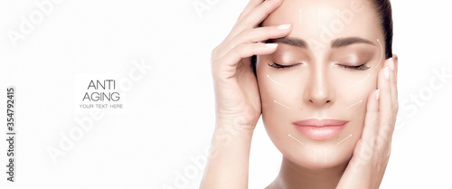 Cuadros en Lienzo Beauty face spa woman. Surgery and Anti Aging Concept