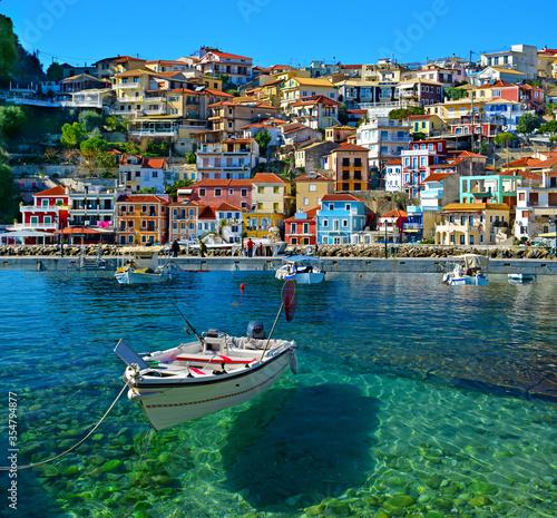 Fototapeta parga tourist resort in greece sea beach summer holidays