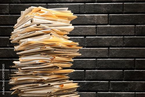 Fototapeta Stack file folders with documents on background obraz