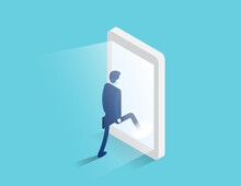 Businessman Enters A Glowing Smartphone Screen. Digital Portal And Access. Isometric Business Vector Design