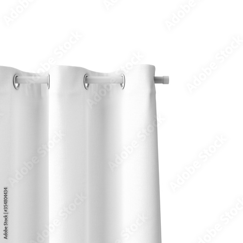 Photo 3D rendering of a white curtain hanging from a pipe isolated on a white backgrou