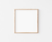 Thin Square Wooden Frame On Wh...