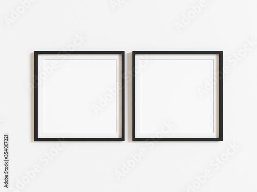 Obraz Black square frame mockup on white wall. 3d illustration. - fototapety do salonu