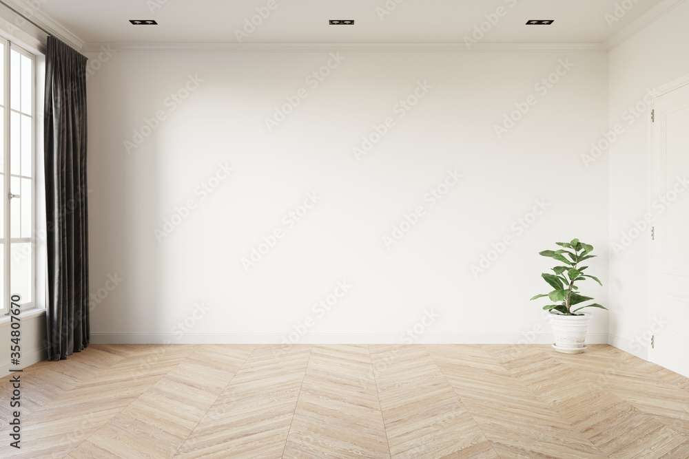 Fototapeta Empty room with white wall, window, grey curtain and green plant in a white pot on wooden floor. 3d illustration.
