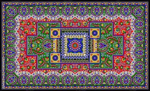 colorful vector elaborate original floral large area carpet design Wallpaper Mural