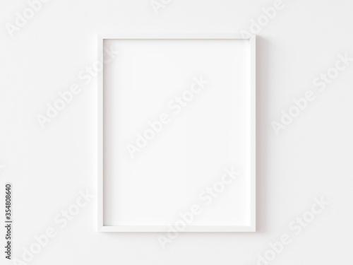 Tela White vertical frame on white wall. 3d illustration.