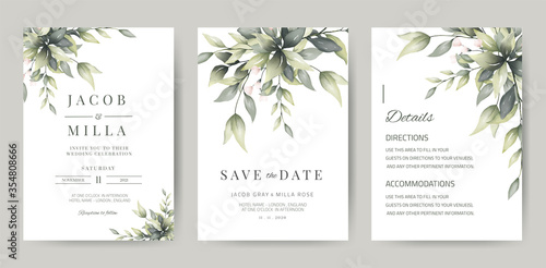 wedding invitation template card set with greenery watercolor leave and branch Fototapete
