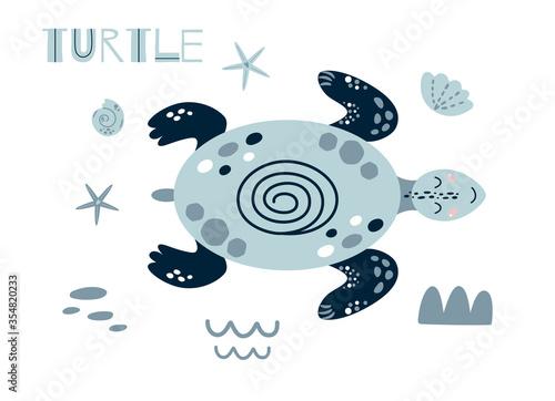 Obraz Cute turtle cartoon. Cute baby ocean animal girls boys summer sea element Kids nautical print cute blue turtle Illustration - fototapety do salonu