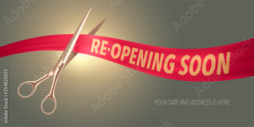 Obraz Grand opening or re-opening vector illustration, background - fototapety do salonu