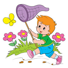 Cute Boy Catches A Yellow Butterfly In The Meadow With A Butterfly Net, Vector Illustration,
