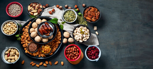 Different types of nuts, seeds and dried fruits