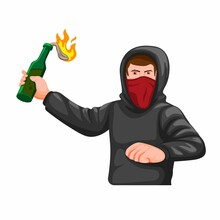 Guy Wear Hoodie And Mask Throwing Molotov Coctail Pose Figure, Hooligan Anarchy Symbol Concept Cartoon Illustration Vector Isolated In White Background