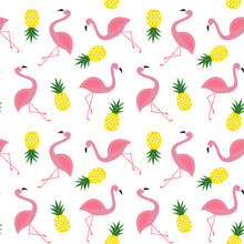 Pink Flamingo And Yellow Pineapple Summer Tropical Seamless Pattern On White Background Vector