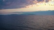 drone flying above the sea sunset