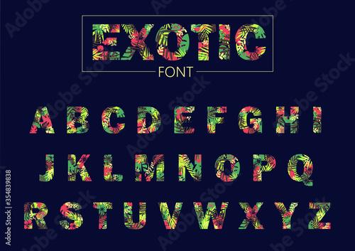 Obraz Tropical leaves font vector, exotic hawaiian floral texture alphabet letters - fototapety do salonu