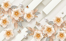 3d Illustration, Beige Background With Sloping Stripes, Large Beige Ceramic Flowers On Jewelry Gold Stems