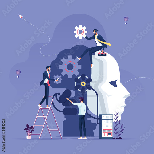 Business team creating artificial intelligence-Machine learning and artificial i Canvas Print