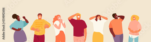 Obraz Laughing group of young happy people. Vector characters illustration - fototapety do salonu