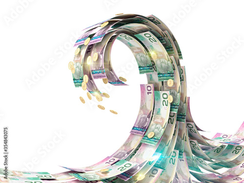 Foto Money wave of canadian dollars isolated on white. 3d illustration