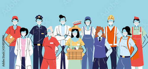 Obraz thank you essential workers, various occupations people wearing face masks - fototapety do salonu
