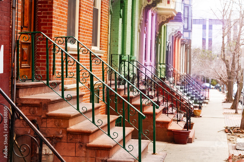 Many colorful different staircases and handrails of typical Albany houses on Lan Fototapete