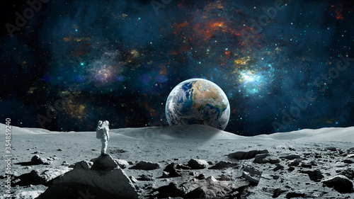 Obraz Space background. Astronaut standing on moon surface with earth planet and colorful nebula. Elements furnished by NASA. 3D rendering - fototapety do salonu