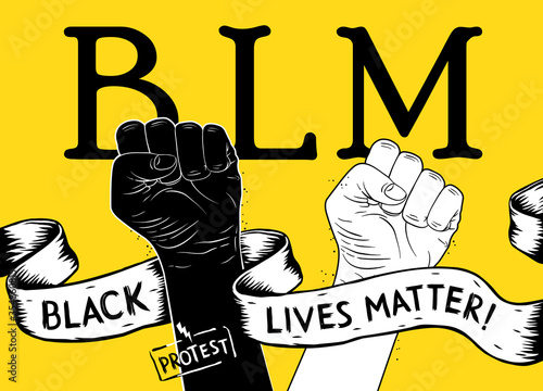 Valokuva Protest poster with text BLM, Black lives matter and with raised fist