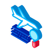 Plane Magnifier Icon Vector. I...