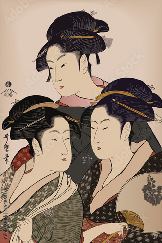 Fotomural 浮世絵 美人三人娘