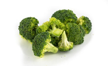 Broccoli Florets Isolated On A White Background
