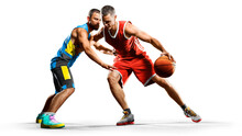 Professional Basketball Players Isolated On White Background