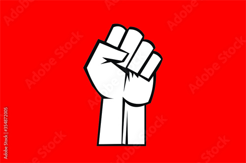 Valokuvatapetti Fist male hand, proletarian protest symbol. Power sign.