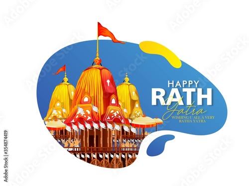 Fotografie, Tablou Happy Rath Yatra holiday background celebration for Lord Jagannath,
