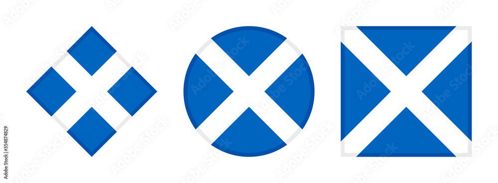 Fototapeta scotland flag icon set. isolated on white background