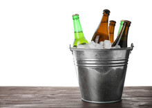 Metal Bucket With Bottles Of B...