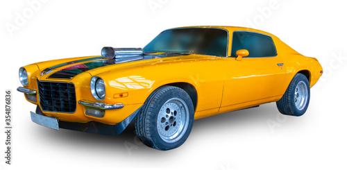American old Muscle Car. White background. Slika na platnu