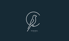 A Line Art Icon Logo Of A Bird...