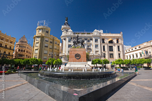 Panoramic view of the Plaza de las Tendillas in Cordoba, Spain.
