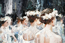 A Group Of Beautiful Graceful Ballerinas In White Dresses And With Flowers In Hair, In The Theater Are Preparing For The Performance. Oil Painting On Canvas.
