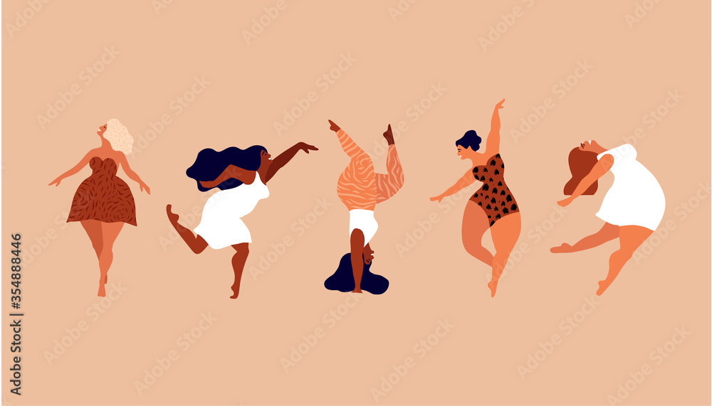 Fototapeta Happy women. Body positive vertical cards. Love yourself, your body concept. Female freedom, girl power or international women's day vector illustration. - obraz na płótnie